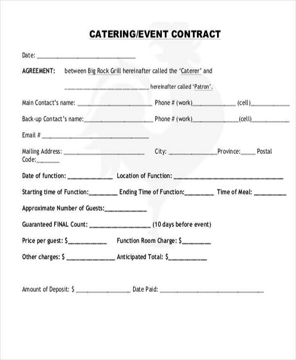 event catering contract agreement
