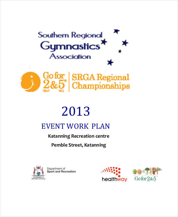 event work plan example