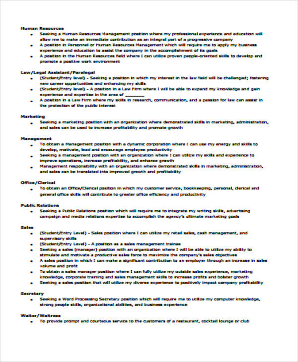 Example Resume Objectives For Management Position