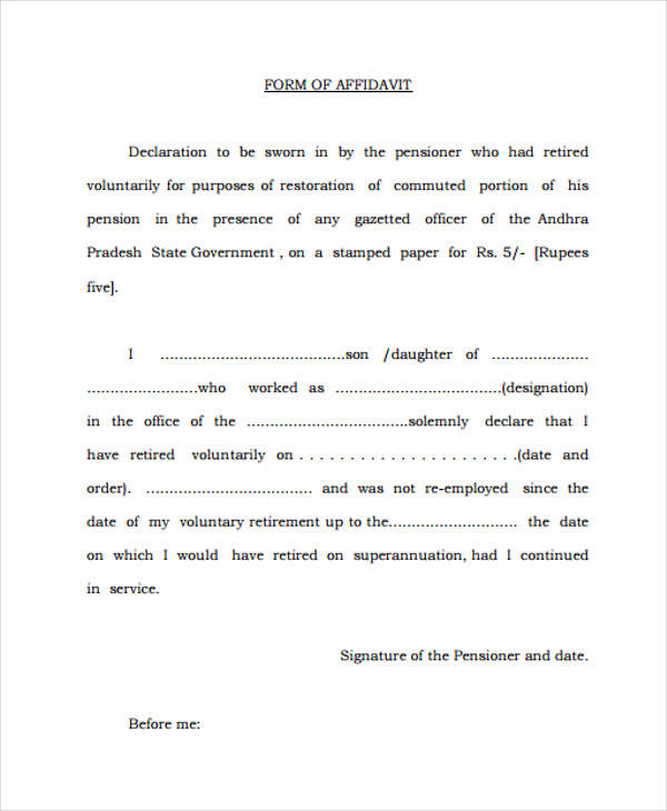 example sworn affidavit form