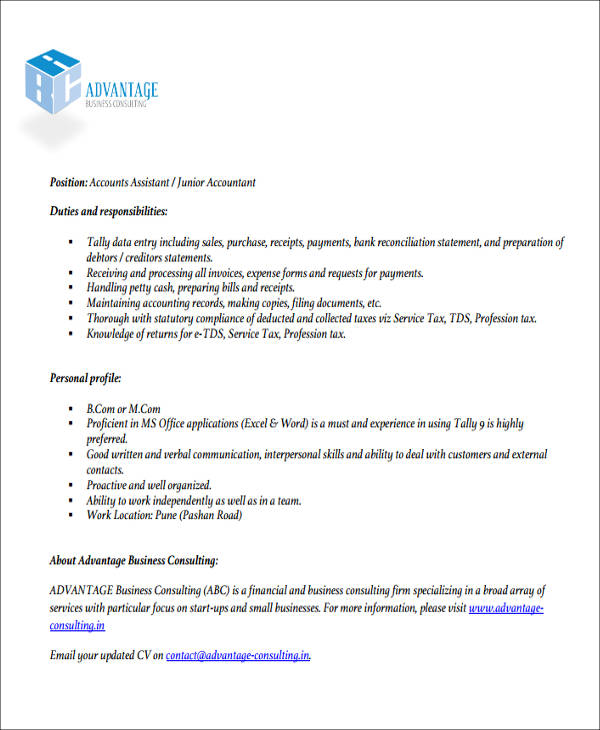 Example Of Junior Accountant Resume  Junior Accountant Resume