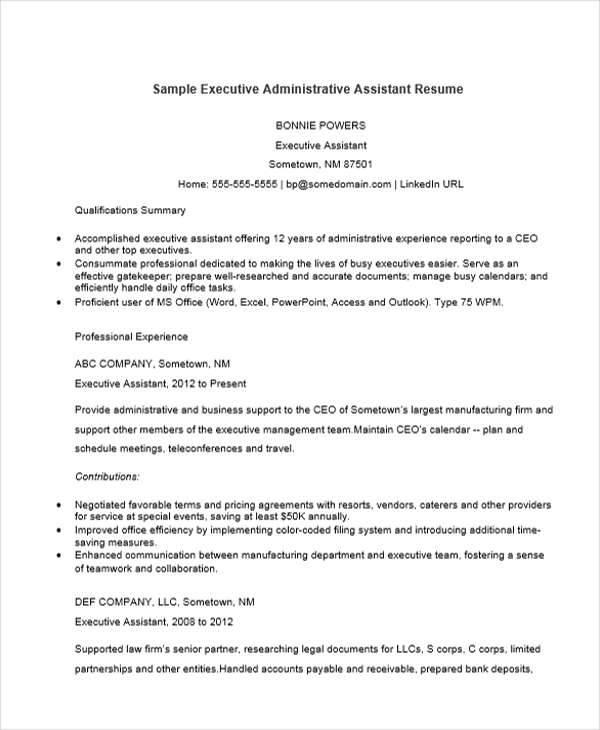 executive administrative assistant sample