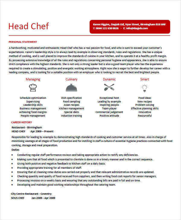 executive chef resume examples sous chef resume example page 1