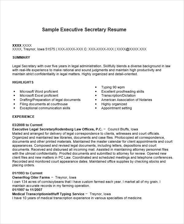 executive legal secretary resume - Legal Secretary Resume