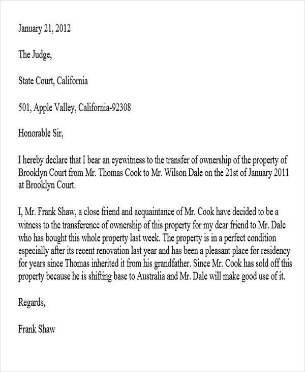 eye witness letter