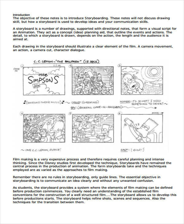 Visual Storyboard Second Movie Storyboard Template Word