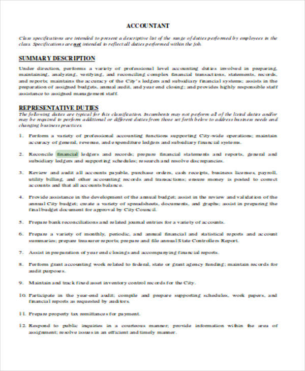 financial accountant resume