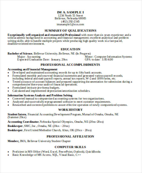 33 accountant resume samples - Accounting Resumes Samples