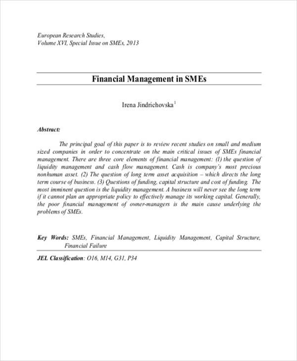 Research paper related to management