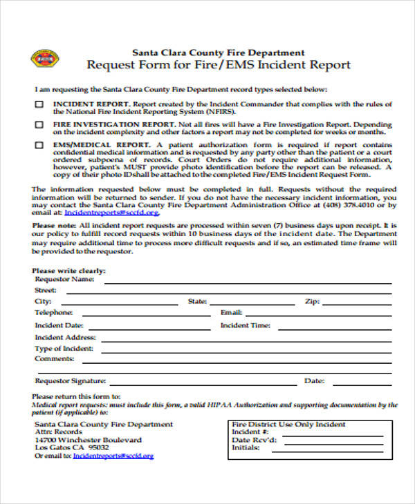 fire department incident report