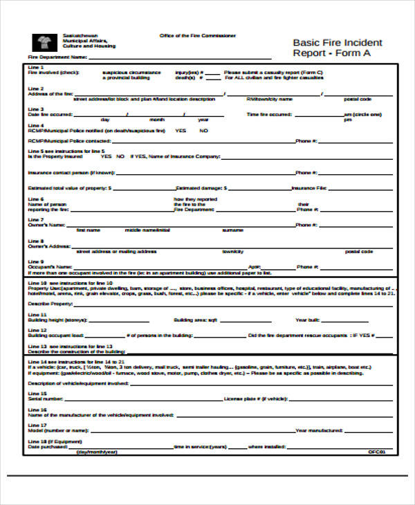 fire incident report example