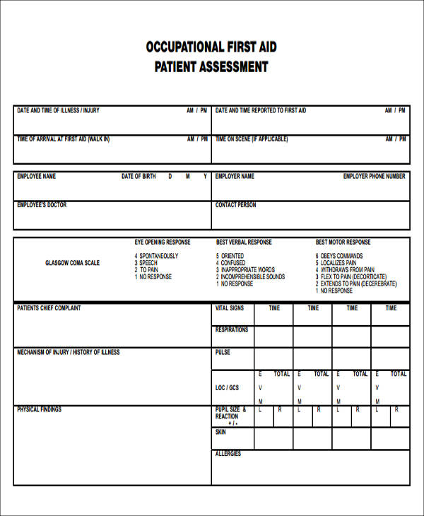 first aid patient assessment form