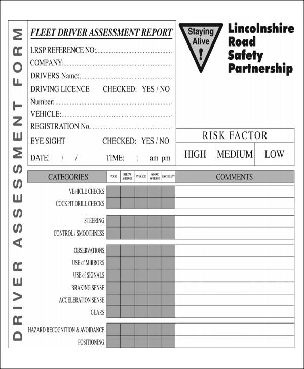 fleet driver assessment form