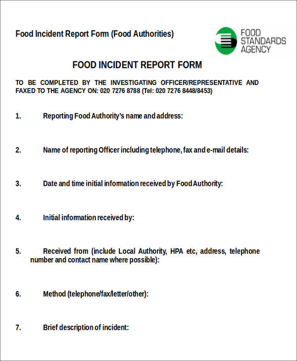 food incident report form