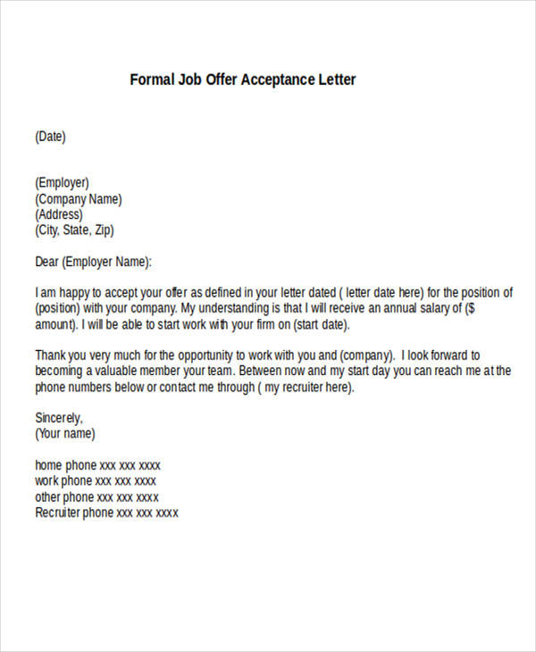 Formal Job Offer Letter  BesikEightyCo