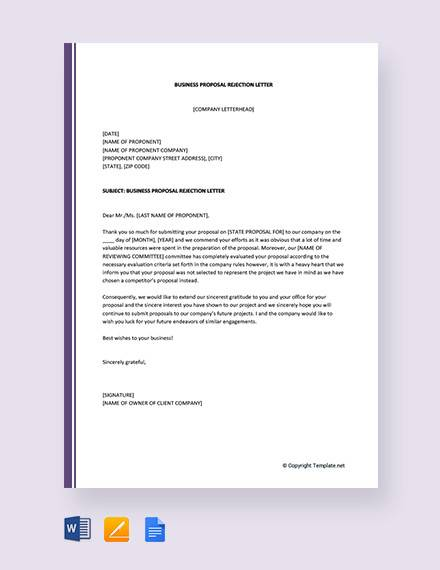 free business proposal rejection letter