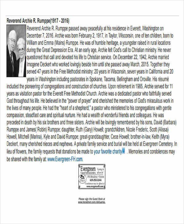 free 35  printable obituary samples in pdf