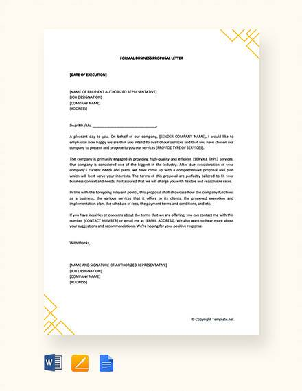 business proposal letter 38 sample business letters pdf doc 13306 | Free Formal Business Proposal Letter