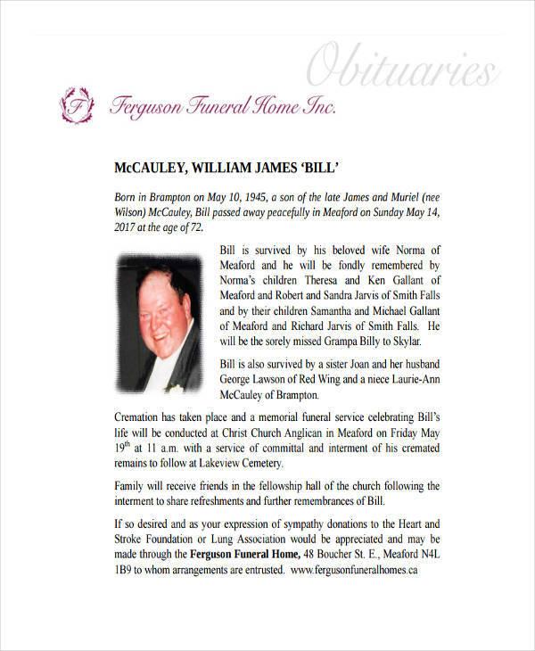 free funeral obituary