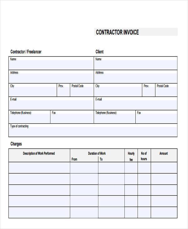 free printable contractor invoice1