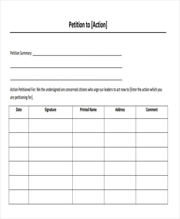 6 employee petition free sample example format for Template for petition signatures