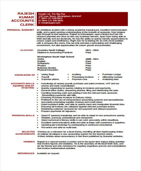 free printable junior accountant resume