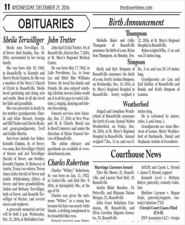 free printable obituary ads