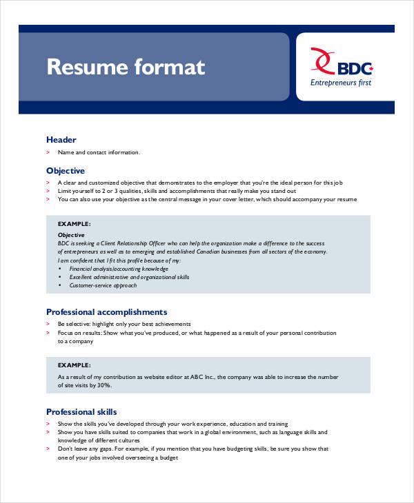 free resume format in pdf