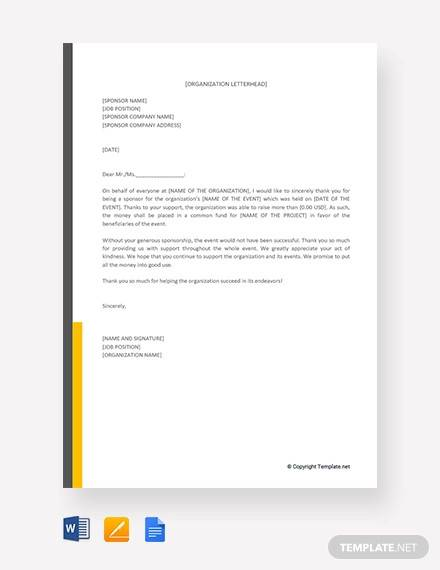 free sponsor thank you letter