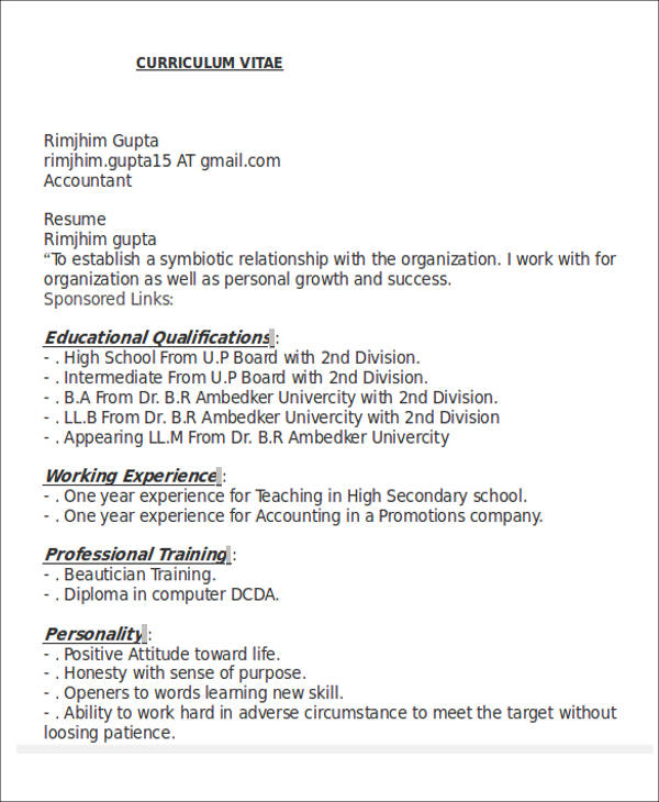 Accountant Resume Format Fresher Accountant Resume Format