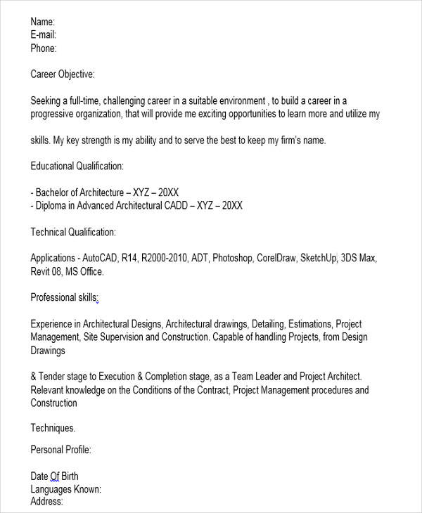 Fresher Architect Resume Format
