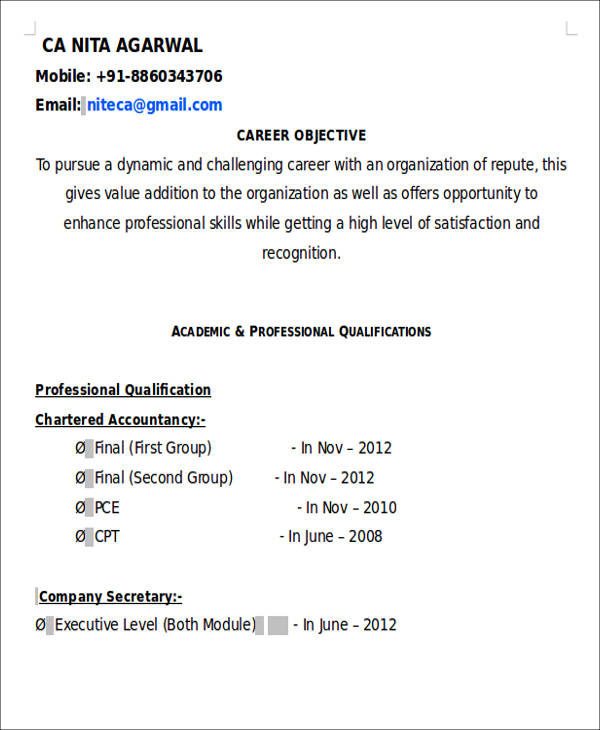 Resume Format For Freshers For Accountant: 28+ Accountant Resume Format