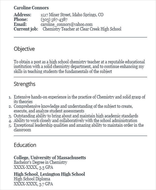 Free 42 Teacher Resume Templates In Pdf Ms Word