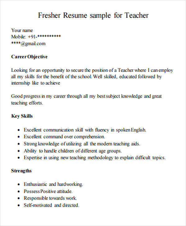 Resume Format For Job In India: 42 Teacher Resume Formats