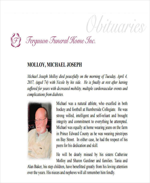 funeral home obituary