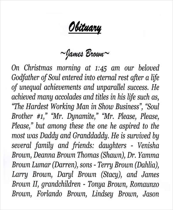 funeral program obituary