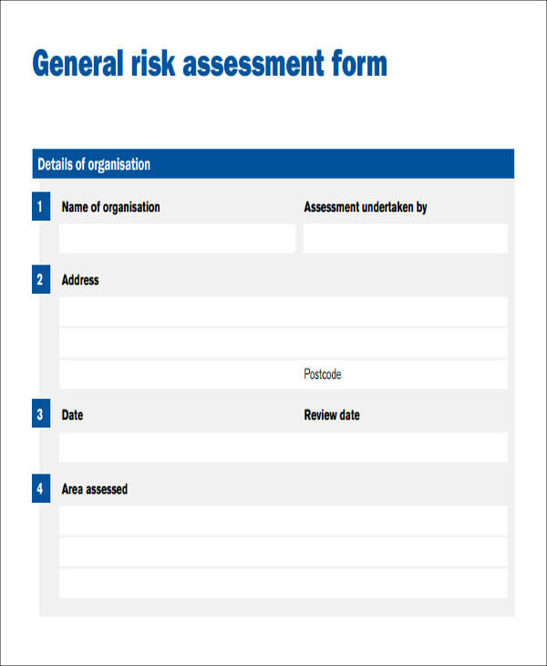 general risk assessment form