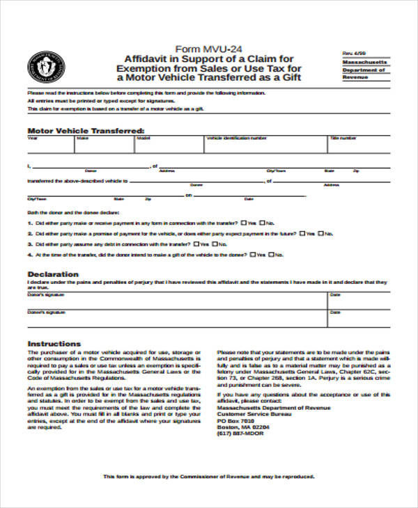 Ma Registry Of Motor Vehicles Gift Form | caferacer.1firts.com