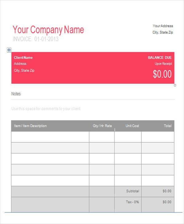 graphic design receipt sample