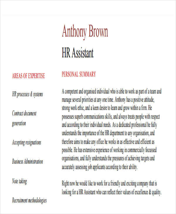 hr assistant fresher resume