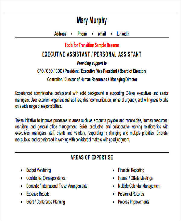 Sample Hr Executive Resume: 25+ Executive Resumes In PDF