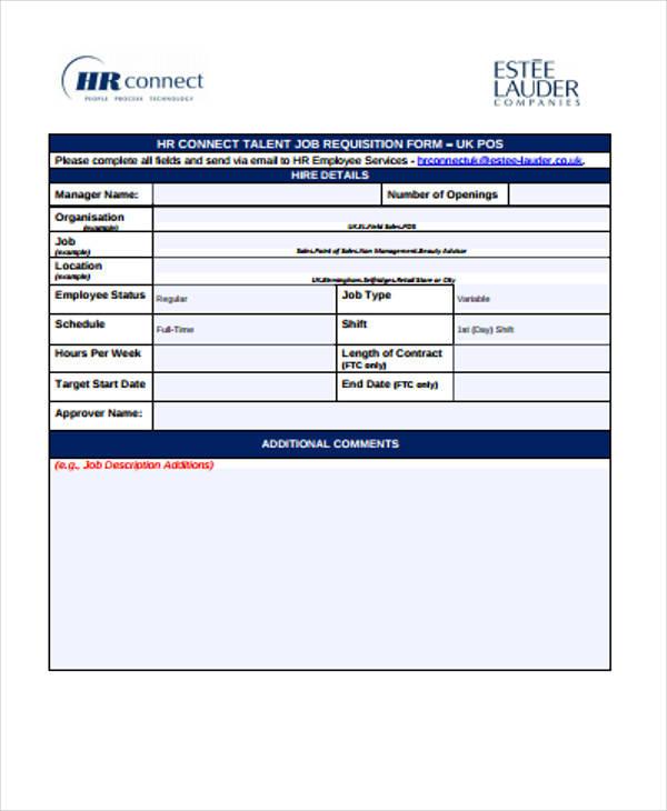 hr job requisition form