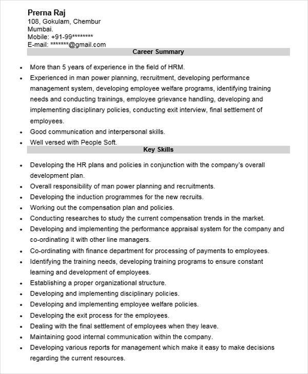 hr manager professional resume1