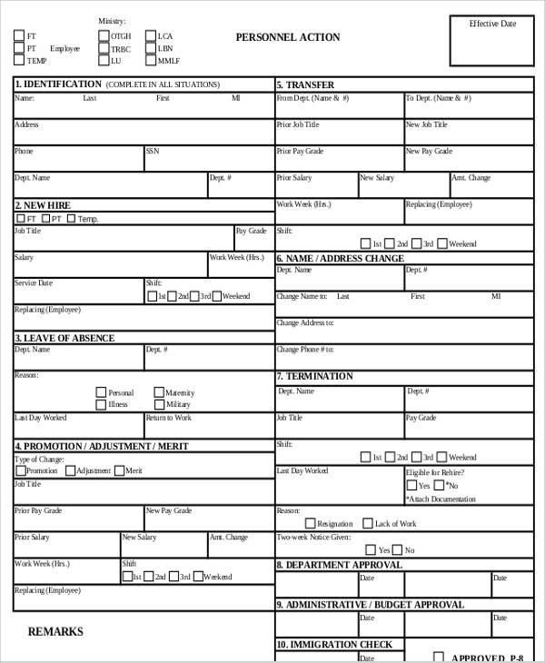 hr personnel action form