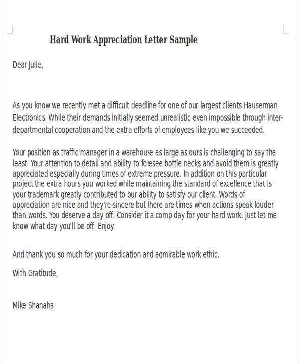 50 appreciation letter samples hard work appreciation letter thecheapjerseys Images