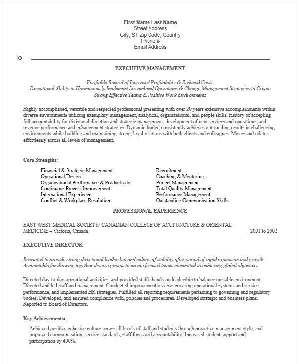 28 executive resumes in word sample templates