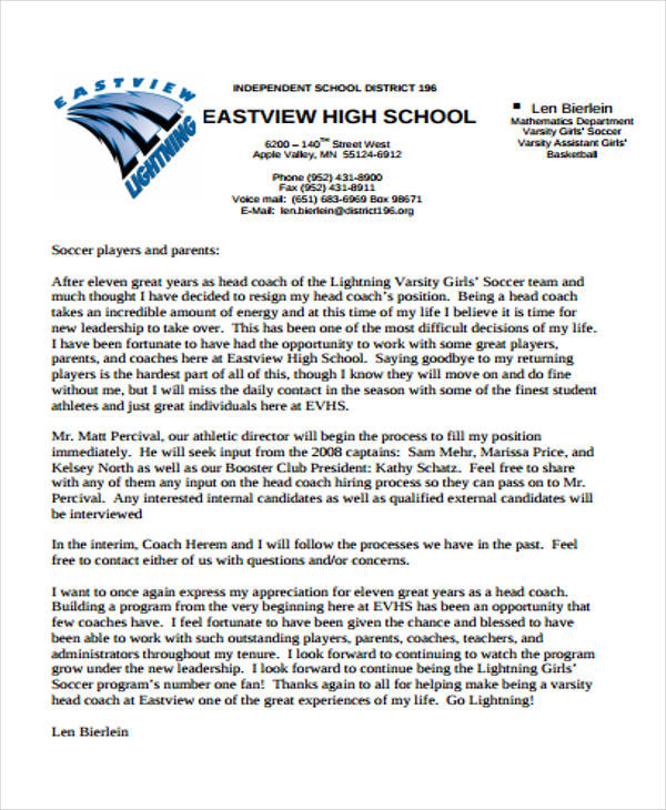 7 sample school resignation letter free sample example format high school resignation letter thecheapjerseys Image collections