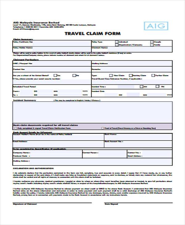 hospital travel claim form