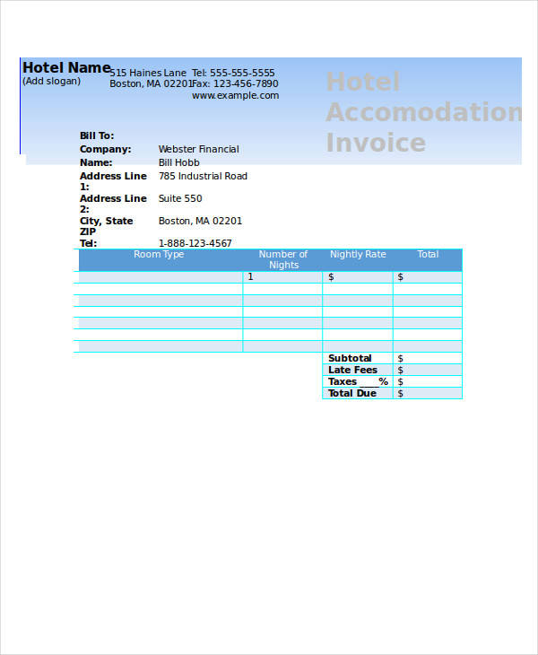 Hotel Invoices Free Microsoft Hotel Invoice Template Download