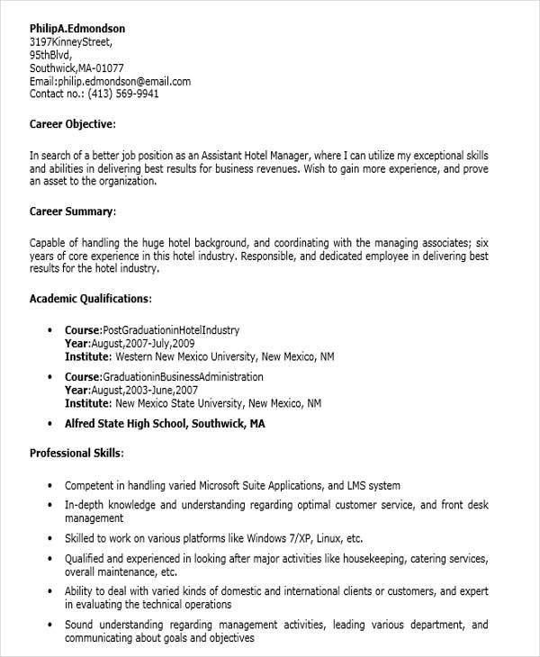 resume for assistant hotel manager 28 images hotel